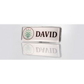 Domed Rectangle 3in x 1in Silver Badge