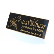 Engraved Bench Memorial Plaque Black/Gold