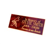 Engraved Bench Memorial plaque Red/Gold