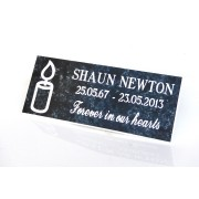 Engraved Bench Memorial Plaque Light Blue marble/White