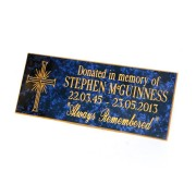Engraved Bench Memorial Plaque Blue/Gold
