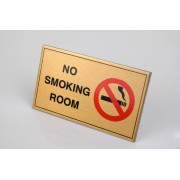 No Smoking Sign Brass effect