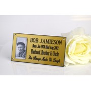 Engraved Photo Memorial plaque Gold