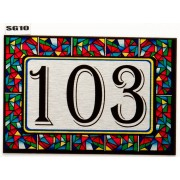 Stained Glass effect House Number SG10