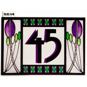 StaIned Glass effect House Number SG14