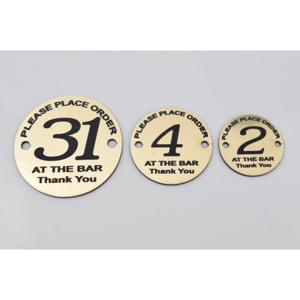 10x Engraved round table numbers
